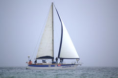 Sailing yacht on the high seas Royalty Free Stock Images