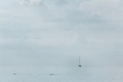 Sailing yacht on the horizon. People are swimming, calm Stock Photography