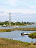 Sailing yacht on the ICW. A sailing yacht transits a curve on the Intracoastal Waterway at North Topsail Beach North Carolina Stock Photos