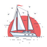 Sailing yacht. Image of luxury sailing yacht floating on the waves of the sea in background setting sun. Side view. Flat style vector illustration