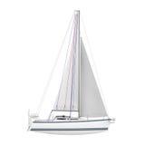 Sailing Yacht Isolated Stock Image