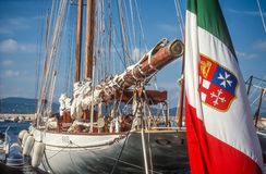 Sailing yacht with the Italian flag Royalty Free Stock Image