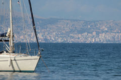 Sailing yacht in Kassiopi Stock Photography