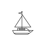 Sailing yacht line icon, travel tourism. Boat and ship, a linear pattern on a white background, eps 10 Royalty Free Stock Photography
