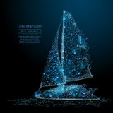 Sailing yacht low poly blue Stock Photography