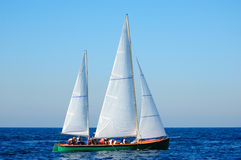 Sailing yacht in the mediterranean sea. Stock Images