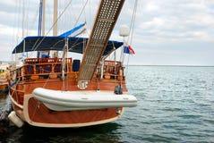 Sailing yacht at a mooring stock photos
