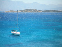 Sailing yacht with mountains. Sailing yacht in the Ionian sea, Greece Stock Photography