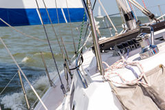 Sailing yacht in the open ocean Royalty Free Stock Photography