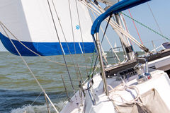 Sailing yacht in the open ocean Stock Photo