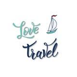 Sailing yacht and original handwritten text Love Travel. Stock Photo