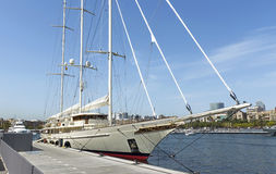 Sailing yacht in Port of Barcelona Royalty Free Stock Images