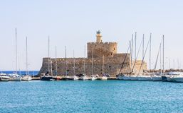 Sailing yacht in the port of Mandraki. Rhodes Island. Greece Stock Image