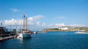Sailing yacht in the port of Mykonos Stock Photo