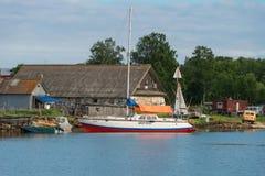 Sailing yacht in Prosperity Bay. SOLOVKI, REPUBLIC OF KARELIA, RUSSIA - JUNE 25, 2018: Sailing yacht in Prosperity Bay. Solovetsky archipelago, White sea, Russia stock image