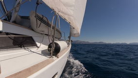 Sailing yacht on the race stock video footage
