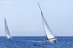 Sailing yacht race. Cruise on Mediterranean sea. Stock Photo