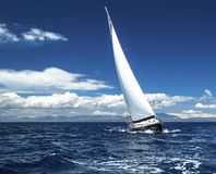 Sailing yacht race, picture with space for logos. Travel. Stock Photos