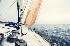 Sailing yacht on the race Stock Photography