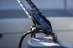 Sailing yacht rigging equipment: main sheet traveller block closeup Royalty Free Stock Images