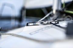 Sailing yacht rigging equipment: main sheet traveller block closeup Stock Images