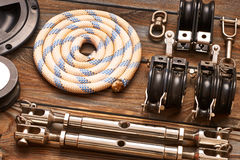 Sailing yacht rigging equipment Stock Images