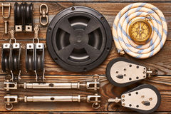 Sailing yacht rigging equipment Stock Image