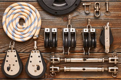 Sailing yacht rigging equipment Royalty Free Stock Image