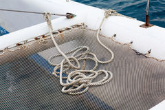 Sailing yacht rigging, ropes closeup. Stock Photo
