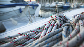 Sailing yacht rigging, ropes closeup. Sport. Stock Images