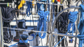 Sailing yacht rigging. Ship tackles. Ropes. Sailing yacht rigging. Ship tackles Royalty Free Stock Images