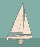 Sailing yacht. Sailboat. Vector drawn flat illustration for yacht club Royalty Free Stock Photography