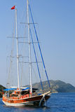 Sailing yacht without sails in the Aegean Sea Stock Photos