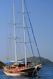 Sailing yacht without sails in the Aegean Sea Royalty Free Stock Photos