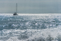 Sailing yacht in the sea bay Royalty Free Stock Images