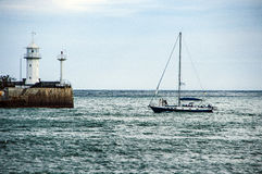 Sailing yacht in the sea bay. Wedding, newlyweds, photosession Stock Image