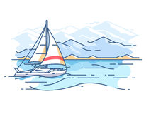 Sailing yacht in sea. Boat trip on ocean. Vector illustration Royalty Free Stock Photography