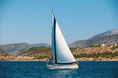 Sailing yacht in the Sea. Luxury. royalty free stock image