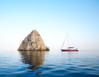 Sailing yacht in the sea Royalty Free Stock Photos