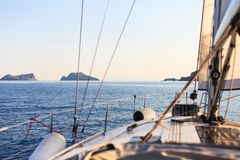 Sailing yacht on the sea. Sailing boat on the sea, white deck, Greece, Cyclades islands Stock Photo