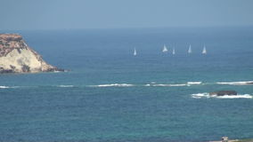 Sailing yacht at he sea. Sailing yacht at sea in the summer on the island of Cyprus stock video