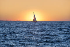 Sailing yacht in the sea at sunset. Adriatic Sea Stock Image