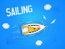 Sailing. Yacht in the sea. Top view through the clouds on a white yacht , floating on the waves of the sea. Vector illustration Royalty Free Stock Photos