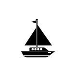 Sailing yacht solid icon, travel tourism. Boat and ship, a filled pattern on a white background, eps 10 Royalty Free Stock Photo