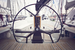 Sailing yacht steering wheels Royalty Free Stock Photo