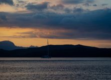Sailing yacht on sunset in Greece stock image