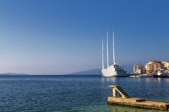 - `Sailing Yacht A`, SYA, one of the biggеst sailing yachts in the world anchored in the port of Saranda, Albania stock photos