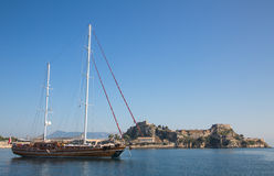 Sailing yacht with two mast in Greece: here Corfu town. Royalty Free Stock Images