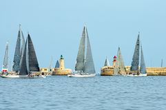Sailing yacht race. Yachting. Sailing yachts in the sea royalty free stock images