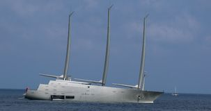 Sailing Yacht. Villefranche-sur-Mer, France - May 20, 2018: Sailing Yacht A, The Largest Private Sailing Yacht In The World On The French Riviera, Property Of stock video footage
